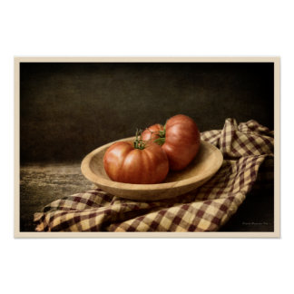 Two Red Tomatoes in a Bowl Poster