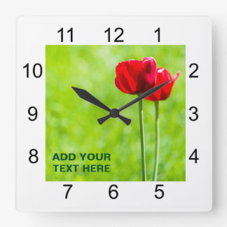 Two red tulip flowers square wall clock