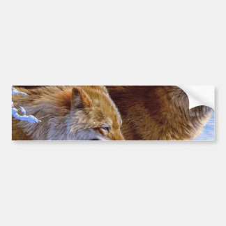 Two red wolves painting bumper sticker