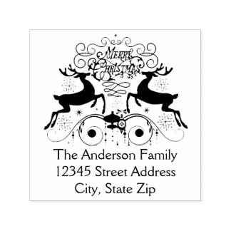 Two Reindeer Christmas - Self Inking Address Stamp