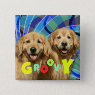 Two Retro Golden Retriever Dogs Psychedelic Groovy 15 Cm Square Badge