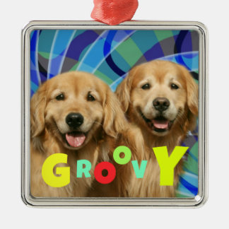 Two Retro Golden Retriever Dogs Psychedelic Groovy Metal Ornament
