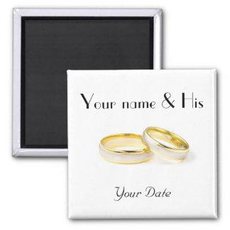 Two Rings Wedding Magnet
