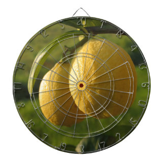 Two ripe lemons hanging on tree dartboard