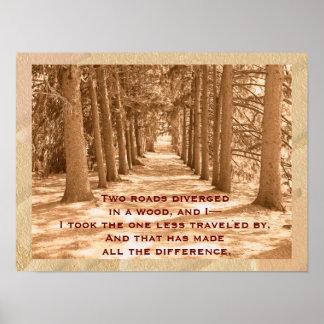 Two roads - Robert Frost quote - art print