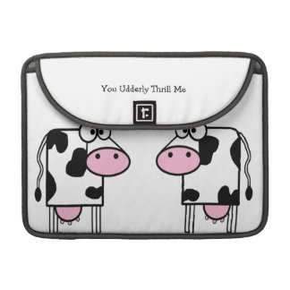 Two Romantic Cows, You Udderly Thrill Me Sleeves For MacBooks