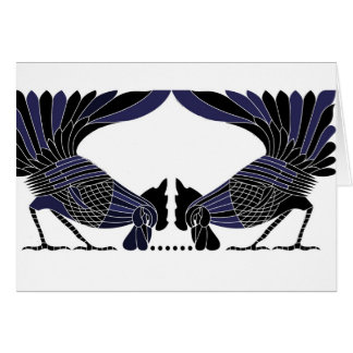 Two rooster card