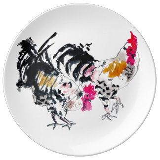 Two Roosters Porcelain Plates