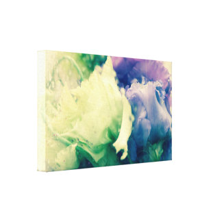 Two roses behind a glass canvas print