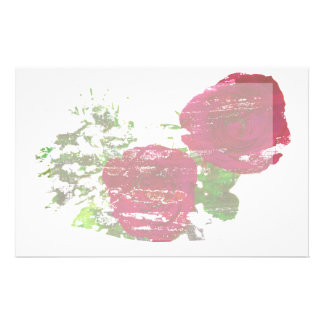 two roses grunged graphic customized stationery