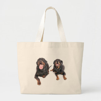 two rottweilers, bag