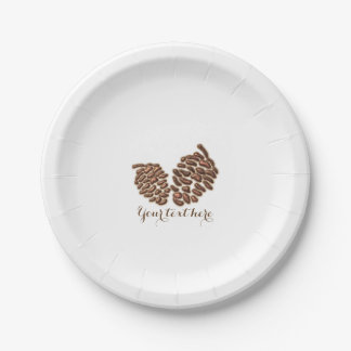 Two Rustic Pine Cones Country Wedding Reception 7 Inch Paper Plate