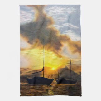 Two Sailboats in a Beautiful Sunset Tea Towel