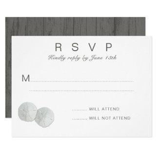 Two Sand Dollars White RSVP Attendance Card 9 Cm X 13 Cm Invitation Card