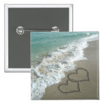 Two Sand Hearts on the Beach, Romantic Ocean 15 Cm Square Badge