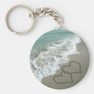 Two Sand Hearts on the Beach, Romantic Ocean Basic Round Button Key Ring