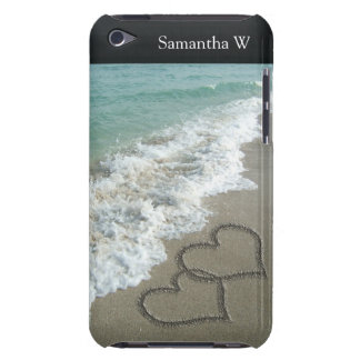 Two Sand Hearts on the Beach, Romantic Ocean iPod Case-Mate Case