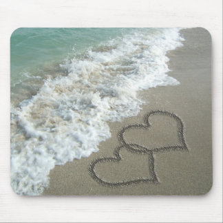 Two Sand Hearts on the Beach, Romantic Ocean Mouse Pad