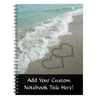 Two Sand Hearts on the Beach, Romantic Ocean Notebook