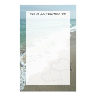 Two Sand Hearts on the Beach, Romantic Ocean Personalised Stationery