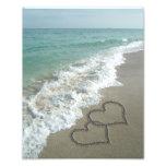 Two Sand Hearts on the Beach, Romantic Ocean Photo