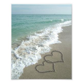 Two Sand Hearts on the Beach, Romantic Ocean Photo Art