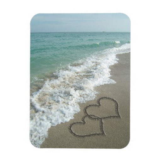 Two Sand Hearts on the Beach, Romantic Ocean Flexible Magnet