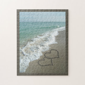 Two Sand Hearts on the Beach, Romantic Ocean Puzzles