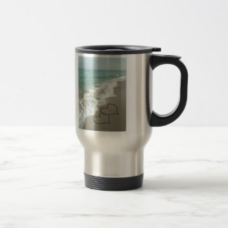 Two Sand Hearts on the Beach, Romantic Ocean Stainless Steel Travel Mug