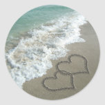 Two Sand Hearts on the Beach, Romantic Ocean Round Sticker