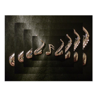 Two Saxophones with Musical Note Postcard