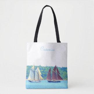 two schooners sailing tote bag