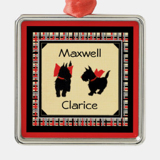 Two Scottie Dog Scottish Terrier Personalize Christmas Tree Ornaments
