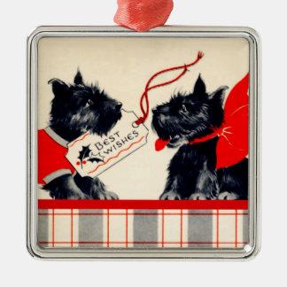 Two Scottie Dogs, Black Scottish Terrier Ornament
