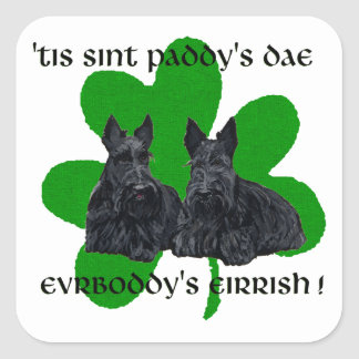 Two Scotties on St. Paddy's Day Square Sticker