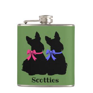 Two Scottish Terrier black sitting blue collar Hip Flask