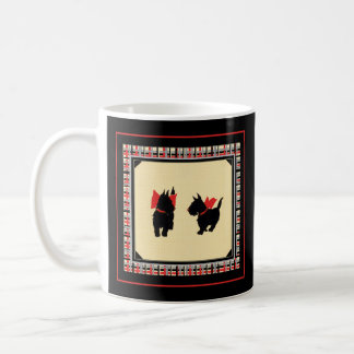 Two Scottish Terriers red bows black background Coffee Mug