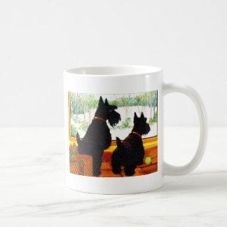 Two Scotty Dogs at Christmas Basic White Mug