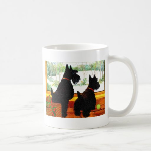 Two Scotty Dogs at Christmas Coffee Mugs