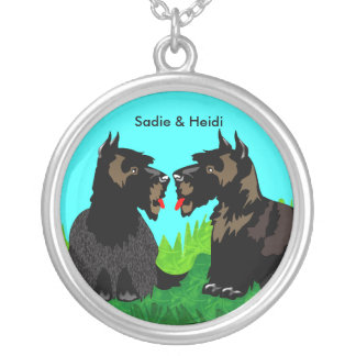 Two Scotty Puppies: Silver Pendant Necklace