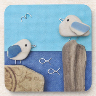 Two Seagulls - Beach Art Coasters