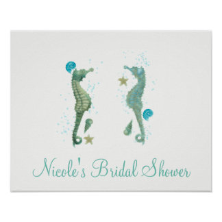 Two Seahorses Watercolor Beach Poster Banner
