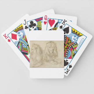 Two seated lions by Albrecht Durer Bicycle Playing Cards
