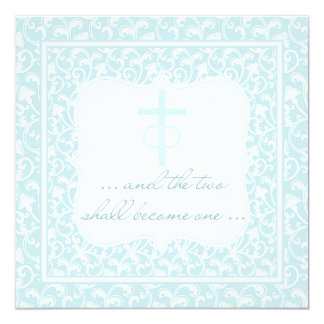 Two Shall Become One Christian Wedding Aqua Blue Card