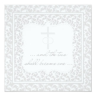 Two Shall Become One Christian Wedding Silver 13 Cm X 13 Cm Square Invitation Card