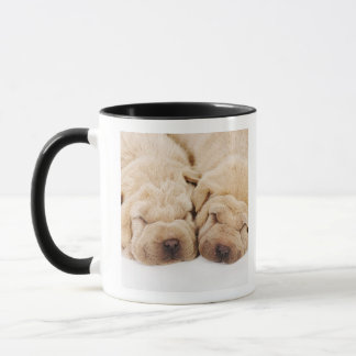 Two Shar Pei puppies sleeping Mug