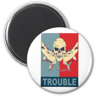 Two sharks and a skull-Double Trouble 6 Cm Round Magnet