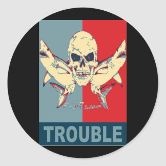 Two sharks and a skull-Double Trouble Round Sticker