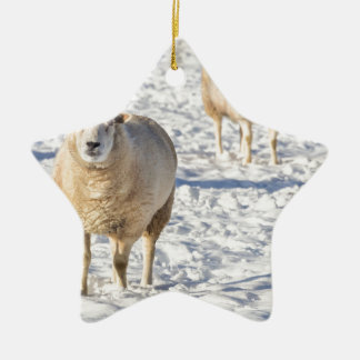 Two sheep standing in snow during winter ceramic ornament