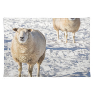 Two sheep standing in snow during winter placemat